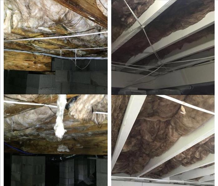 Before and after ceiling damage