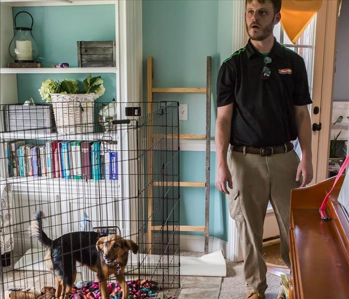 SERVPRO technician in home