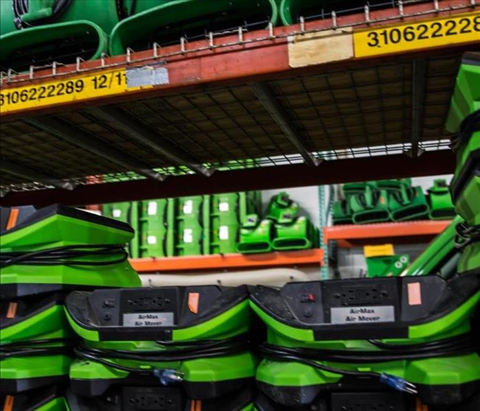 SERVPRO Equipment on shelves in warehouse