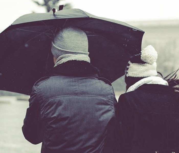 couple holding umbrella